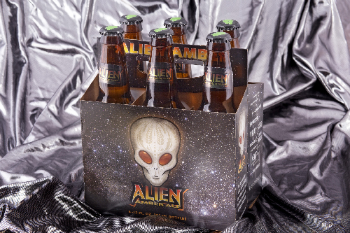 A six-pack of out-of-this-world Alien Amber Ale from Sierra Blanca Brewery